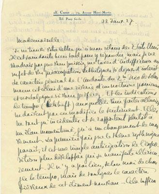 Alfred Cortot lettre autographe signée