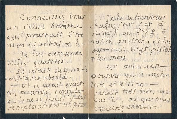Pierre LOUŸS lettre autographe signée secrétaire