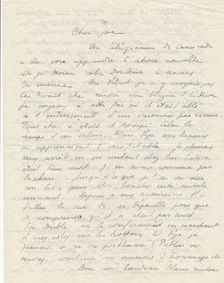 Gaston BONHEUR (1913-1980), écrivain lettre autographe signée Joë BOUSQUET Claude Louis ESTÈVE