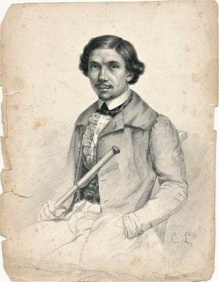 Charles Le Corbeiller autoportrait dessin