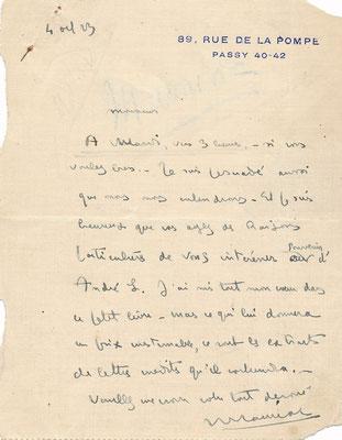 François Mauriac autographe signé achat vente