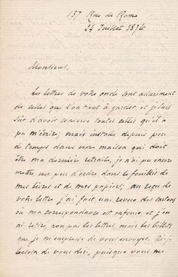 François Joseph Régnier lettre autographe signée