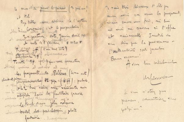 Michel Dimitri Calvocoressi lettre autographe signée