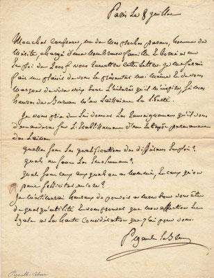 Pigault-Lebrun (1753-1835) lettre autographe signée