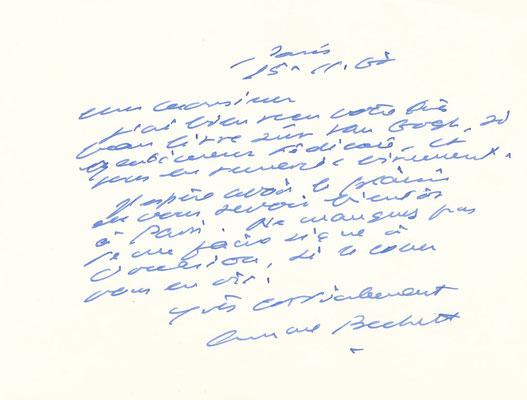 Samuel Beckett carte autographe signée Van Gogh