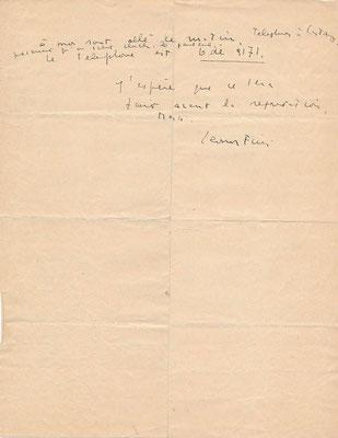 Leonor Fini lettre autographe signée