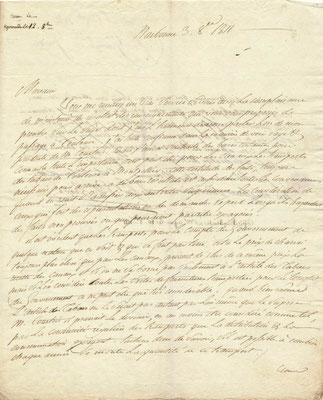 Pierre Marie, marquis de Grave lettre autographe signée