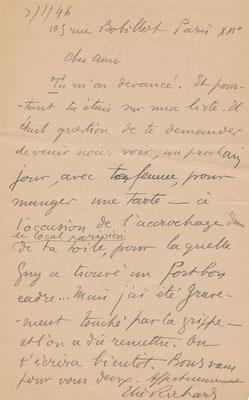 Elie Richard correspondance autographe Germain Delatousche achat vente