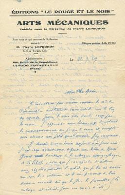 Pierre Leprohon, lettre autographe signée