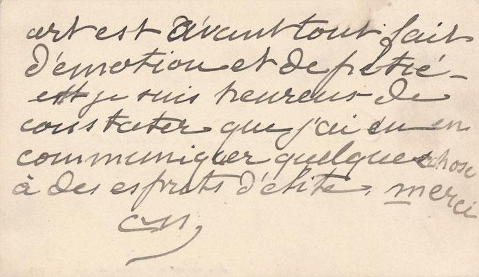 Carte autographe signée Constantin Meunier