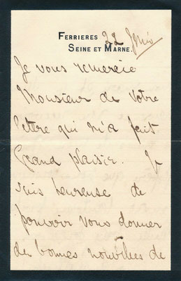 Leonora de Rotschild, lettre autographe signée