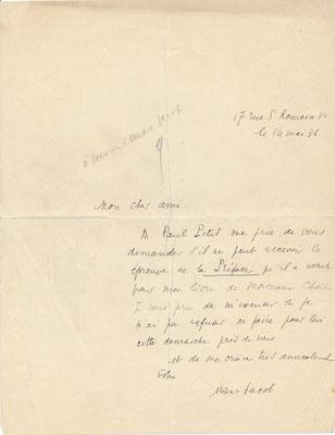 Max Jacob lettre autographe signée