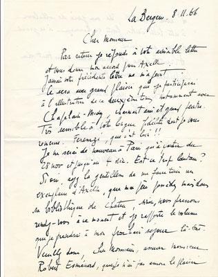 Michel Ciry peinture lettre autographe signée