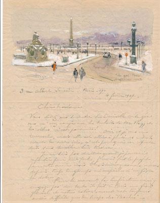 Alfred-Georges HOEN (1869-1954) peintre lettre autographe illustrée