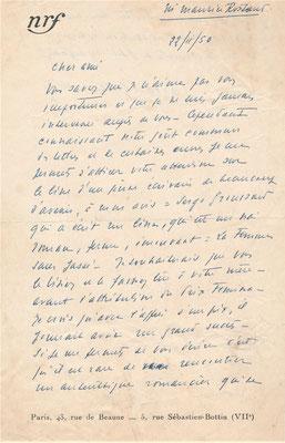 Gaston Gallimard autographe lettre  Maurice ROSTAND  Serge Groussard