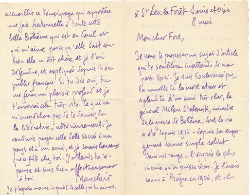 Camille Mauclair, lettre autographe signée