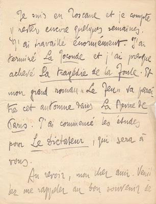 Autographe Autograph Gabriele D'Annunzio