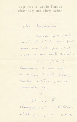 Jean Fautrier lettre autographe signée peinture