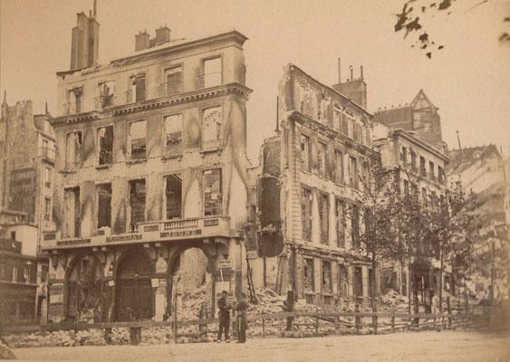 Commune, théâtre de la poste saint-martin, destruction, tirage sur papier albuminé