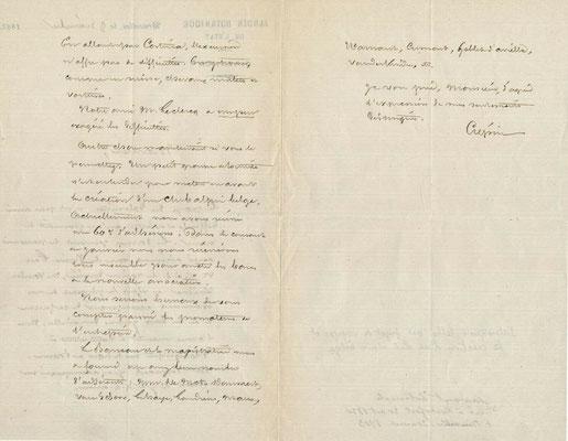 François Crépin lettre autographe signée