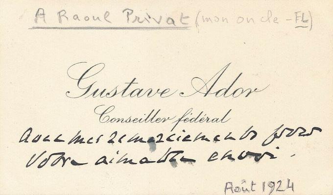 Gustave Ador carte de visite autographe