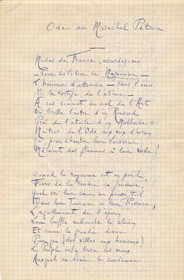 Pierre Jalabert poème autographe signée ode au maréchal Pétain