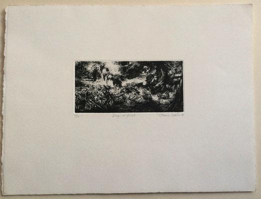 Etienne LODEHO, peintre et graveur français né en 1953 : Singe et forêt