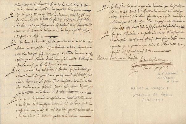 Lettre autographe Jean Baptiste Haillet