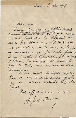 Alfred Bruneau lettre autographe signée