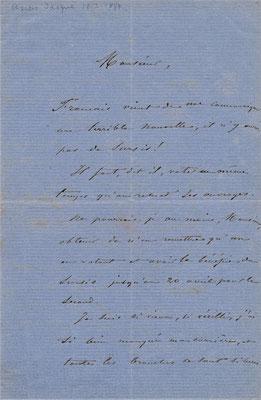 Lettre autographe signée Charles Jacques