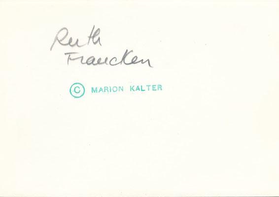 Ruth FRANCKEN (1924-2006) portrait photo photographie Marion Kalter