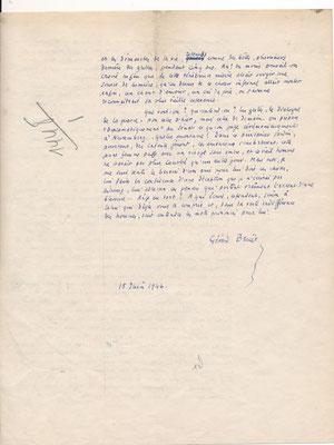 Gérard BAUËR lettre autographe désenchantement