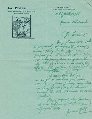 Marcel CHABOT poète lettre autographe signée Germain DELATOUSCHE