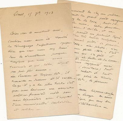 Gaston Vuillier lettre autographe signée