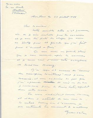 Emilio GRAU SALA (1911-1975), peintre espagnol, lettre autographe signée