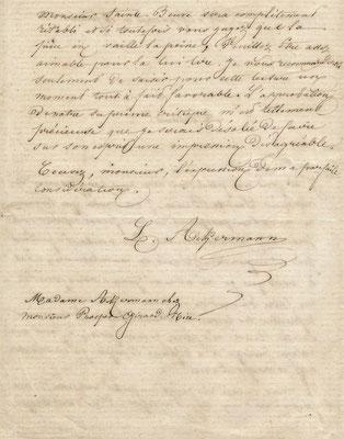 Louise Ackermann lettre autographe signée