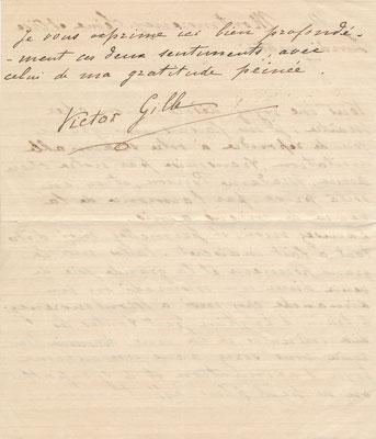 Victor Gilles lettre autographe signée CD Galerie achat vente lettre
