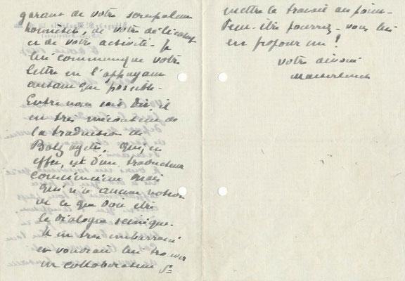 Maurice MAETERLINCK lettre autographe signée traduction théâtre