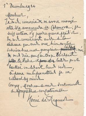 Henri de Régnier Rostand lettre autographe signée CD Galerie achat vente