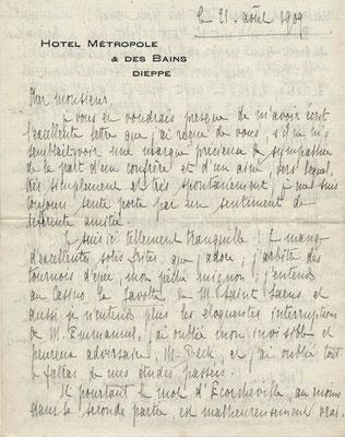 Pierre Aubry lettre autographe