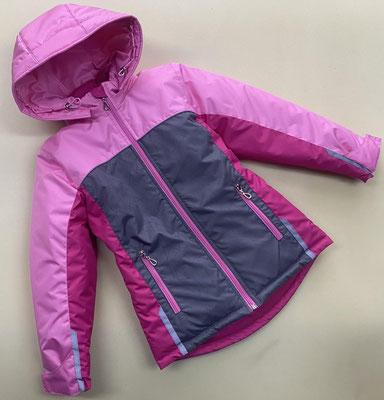 Куртка демисезонная мод.378 размер 30/110-116,32/122-128,34/134-140. ткань  Dewspo + Рефлект. арт.1255 + малина + розовый