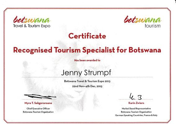 Zertifikat Botswana Reise