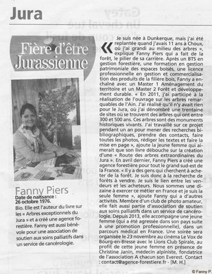 Portrait de Fanny PIERS, responsable de l'agence forestière, la voix du JURA - 2016