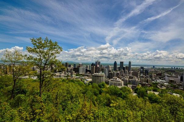 Aussicht vom Mont Royal auf die Stadt Montréal