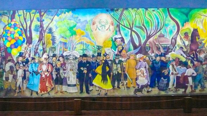 """Wandgemälde """"Sonntagsnachmittagsträumerei in der Alameda"""" von Diego Rivera"""