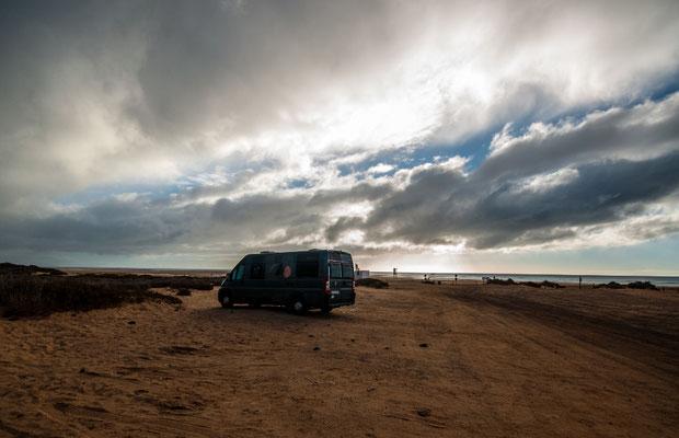 Unser Schlafplatz für zwei Wochen, Strand Risco del Paso, Fuerteventura