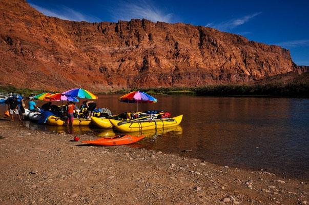 Start zur Schlauchbootfahrt in den Grand Canyon