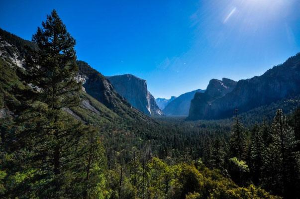Sicht auf den Half Dome und den El Capitan