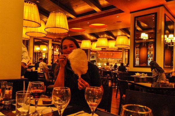 Nachtessen mit Birger und Christiane, inkl. Zuckerwatte zum Dessert