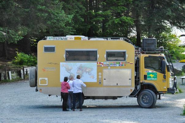 Der coole Truck von den Australiern Lynda und John findet immer viel Beachtung! Sie werden wir noch des öfteren auf der Inside Passage antreffen.